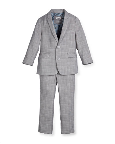 Modern Two-Piece Suit, Greign Plaid, Size 2T-14