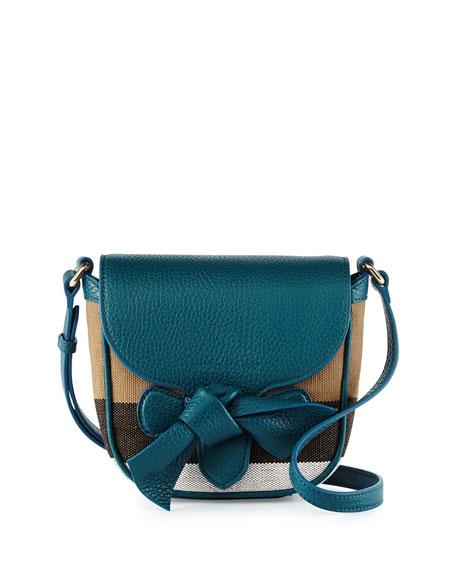 Burberry Girls' Jute Leather-Trim Crossbody Bag