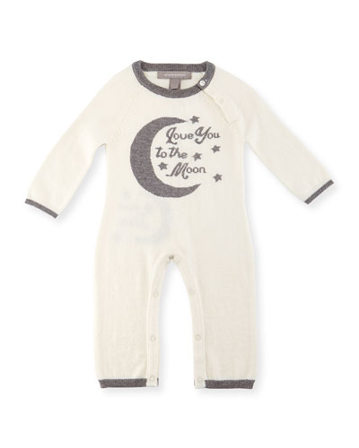 Cashmere-Blend Moon Coverall, Cream/Gray, Size Newborn-12 Months