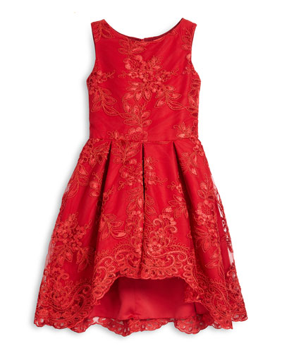 Sleeveless Lace Pleated A-Line Dress, Red, Size 7-14