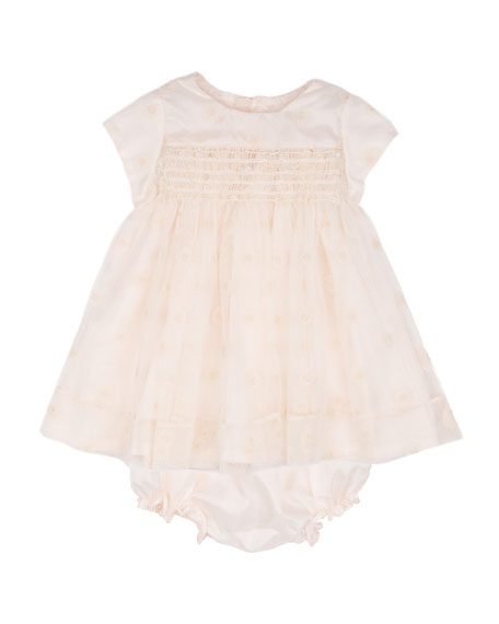 Bonpoint Silk Polka-Dot Dress & Bloomers, Pale Pink,