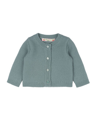 Crochet Button-Front Cardigan, Aqua Blue, Size Newborn-3 Months