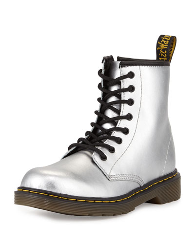 Delaney Metallic Leather Military Boot, Silver, Youth