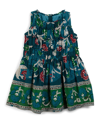 Stephie Sleeveless Floral Dress, Dusty Teal, Size 4-14