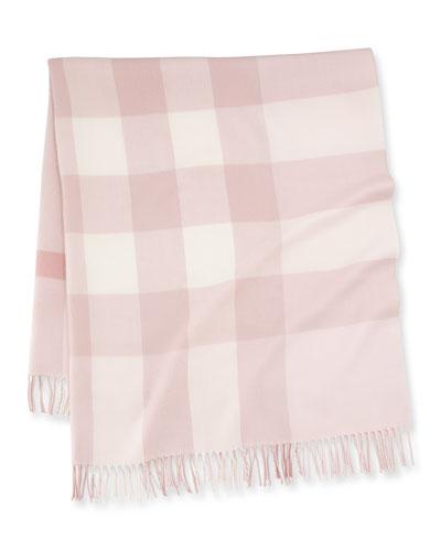 Mega-Check Merino Wool Baby Blanket, Powder Pink