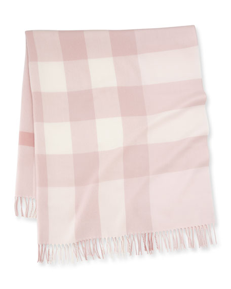 Image 1 of 2: Mega-Check Merino Wool Baby Blanket, Powder Pink