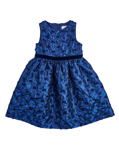 Sleeveless Belted Rosette Dress, Navy, Size 2-6