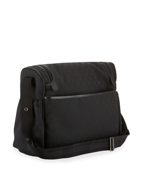 GG Canvas Leather-Trim Diaper Bag