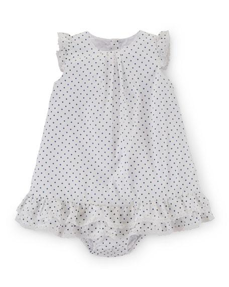 Ralph Lauren Sleeveless Pima Polka-Dot Dobby Dress w/