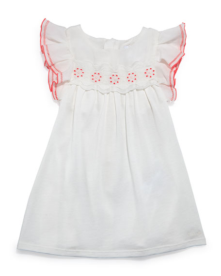Chloe Sleeveless Ruffle-Trim Jersey Dress, Cream, Size 12-18 Months