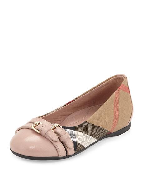 Burberry Avonwick Check Ballet Flat, Light Pink/Tan, Youth
