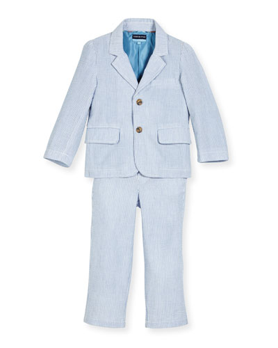 Two-Piece Cotton Seersucker Suit, Light Blue, Size 2-6