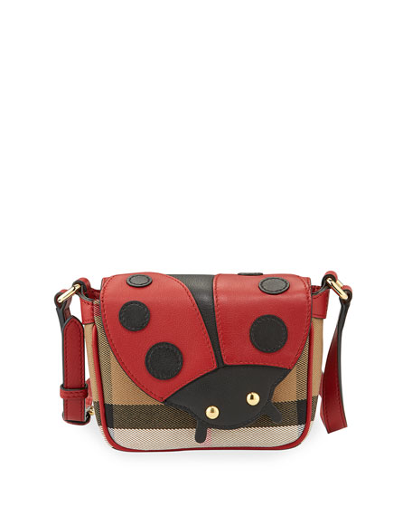 Burberry Girls' Check Leather-Trim Ladybug Crossbody Bag, Parade