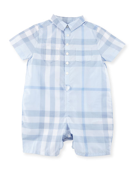 Burberry Kirk Check Collared Shortall, Ice Blue, Size