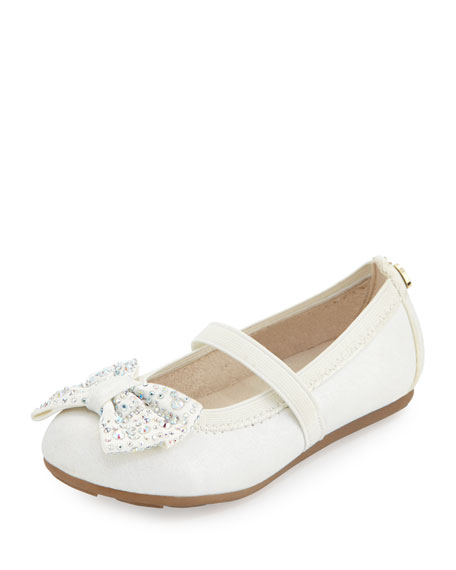Stuart Weitzman Fannie Jeweled-Bow Faux-Leather Mary Jane, White,