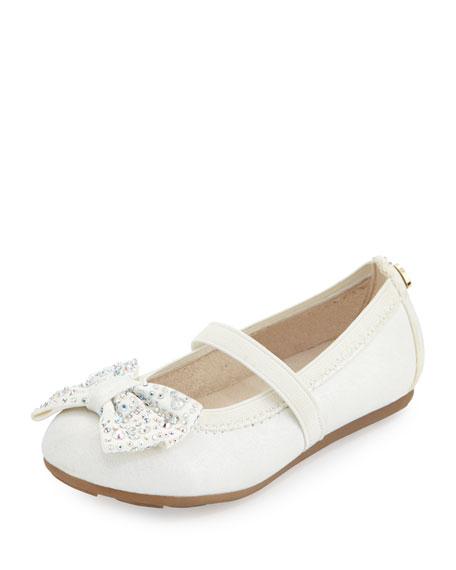 Stuart Weitzman Fannie Jeweled-Bow Faux-Leather Mary Jane, White,