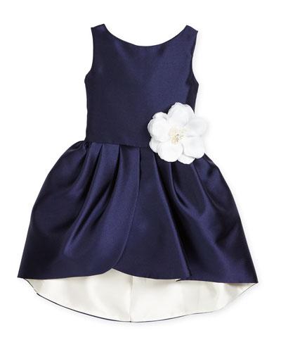 Sleeveless Sateen Party Dress, Navy/Ivory, Size 7-16