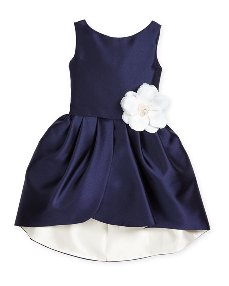 Zoe Sleeveless Sateen Party Dress, Navy/Ivory, Size 7-16