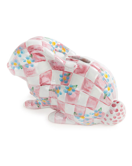 MacKenzie-Childs Handcrafted Bunny Bank, Pink