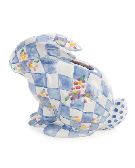 MacKenzie-Childs Handcrafted Bunny Bank, Blue