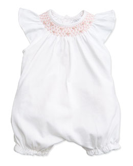 Embroidered Ruffle-Trim Bubble Playsuit, White, Size 3-18 Months