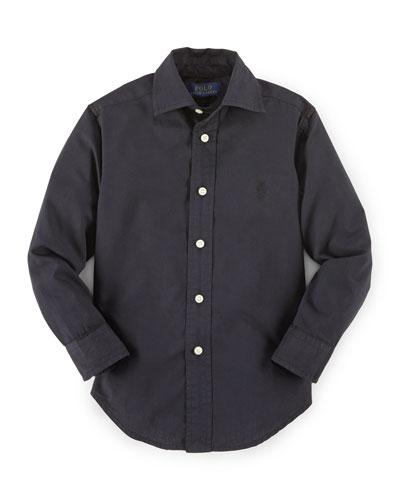 Long-Sleeve Custom-Fit Poplin Shirt, Size 2-7