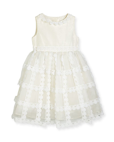 Dahlia Tiered Silk Organza Dress, White, Size 2-14