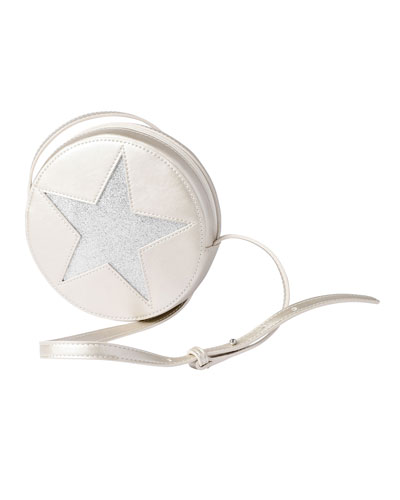 Girls' Round Metallic-Star Faux-Leather Crossbody Bag, Silver