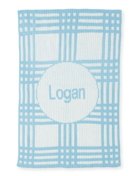Personalized Plaid Knit Baby Blanket, Light Blue