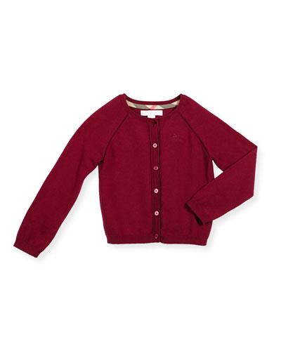 Raglan Button-Front Cotton Cardigan, Size 4-14