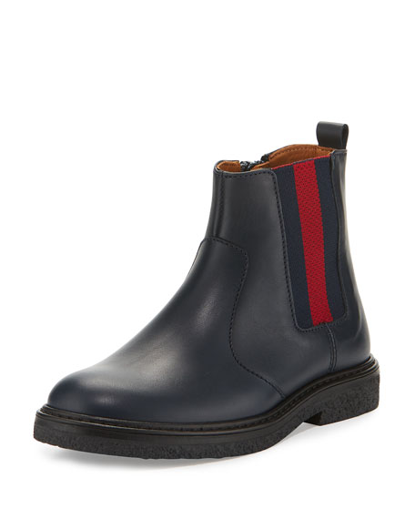 Gucci Joshua Leather Chelsea Boot, Blue, Toddler/Youth Sizes