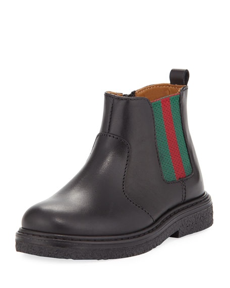 Gucci Joshua Leather Chelsea Boot, Black, Toddler