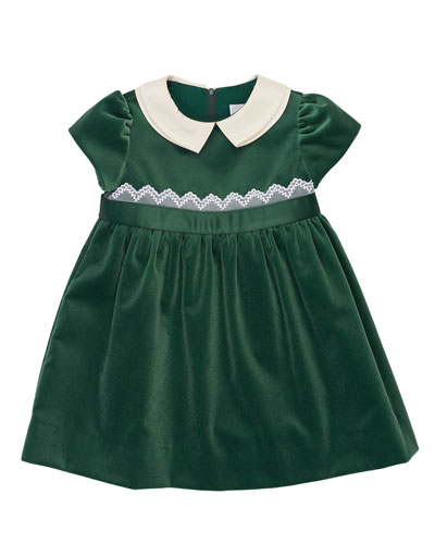 Cap-Sleeve Collared Velour Dress, Green, Size 2-6X