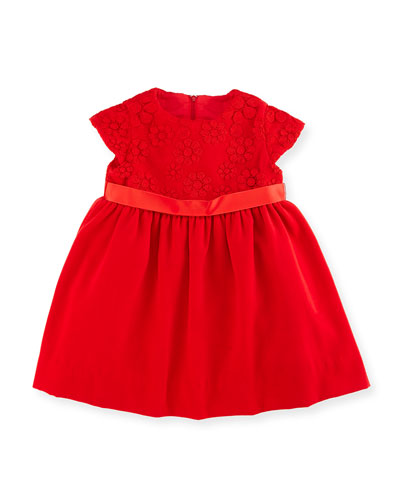 Floral Tulle Velvet Dress, Red, Size 2-6