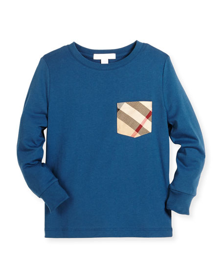 YNG Check-Pocket Jersey Tee, Mineral Blue, Size 4-14