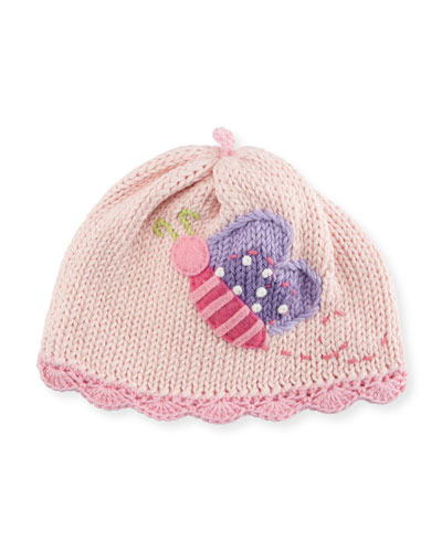 Butterfly Knit Baby Hat  Pink