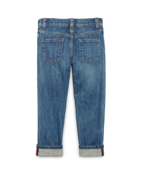 Gucci Washed Denim Straight-Leg Jeans, Blue, Size 4-12