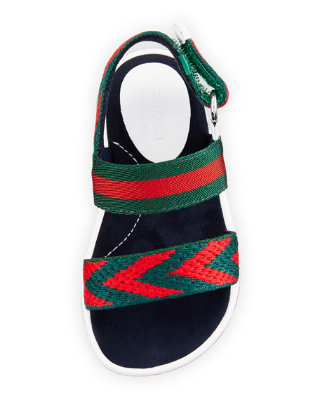 Chevron Leather Sandals, Green/Red, Toddler