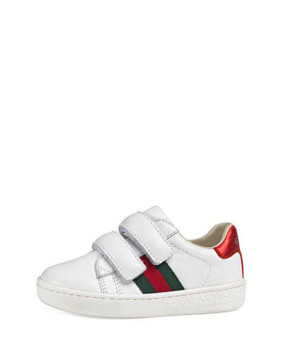 Leather Grip-Strap Sneaker, White, Toddler Sizes 4-10