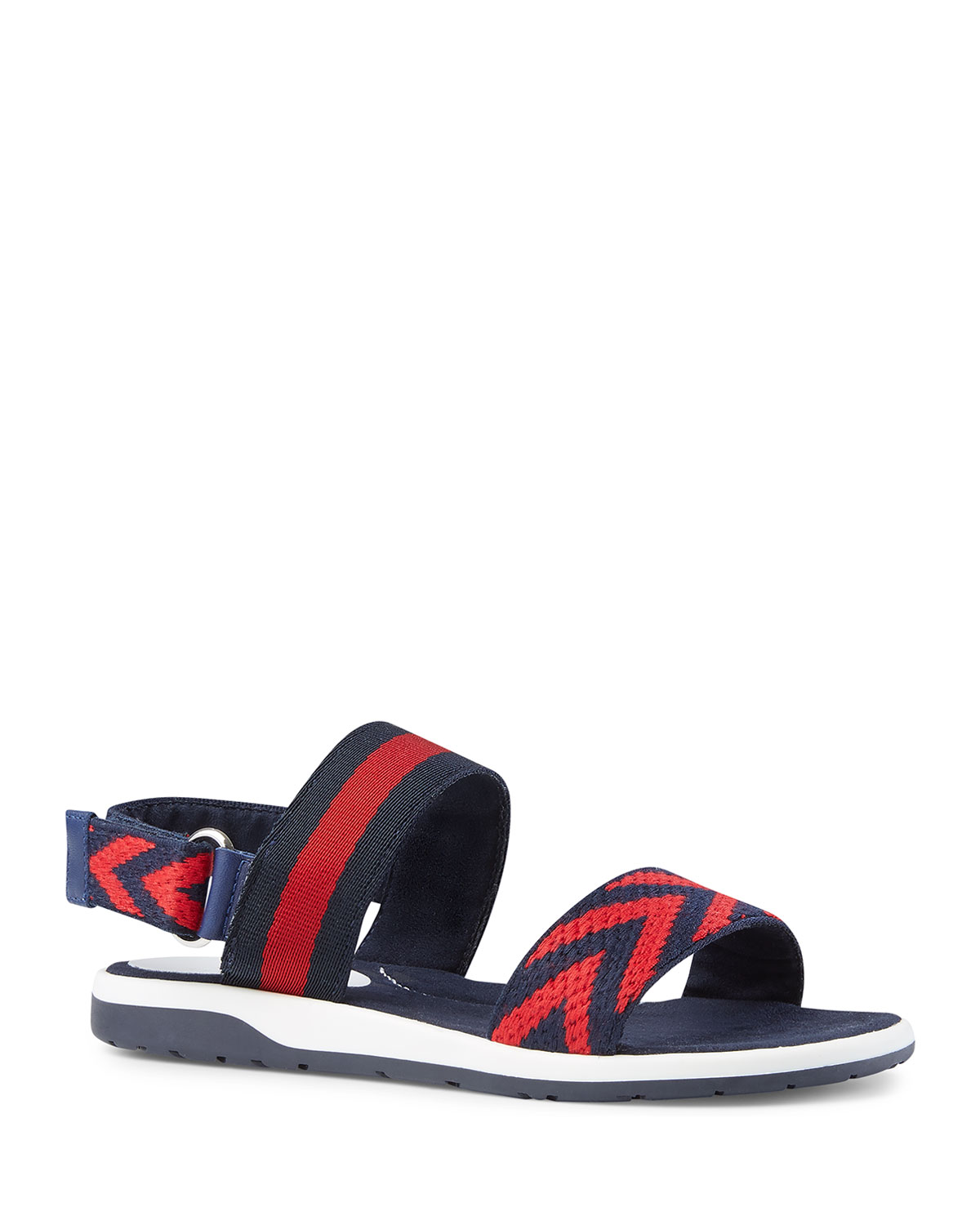 b66c1509a Gucci Chevron Leather Sandals, Blue/Red, Toddler/Kids | Neiman Marcus