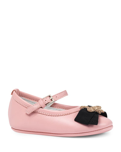 Leather Ballet Flat w/ Bee, Pink, Infant