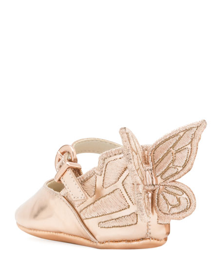 Sophia Webster Chiara Butterfly-Wing Flat, Pink, Baby Sizes 0-12 Months