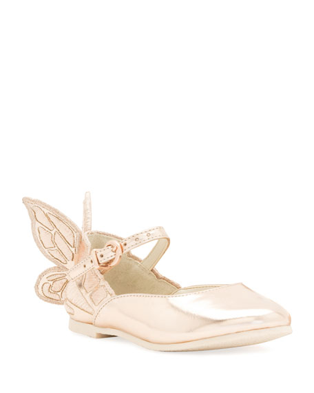 Sophia Webster Chiara Butterfly-Wing Flat, Pink, Toddler/Youth Sizes 5T-2Y
