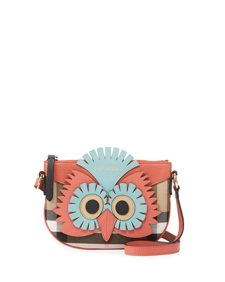 Burberry Girls' Coca Owl Check Canvas Crossbody Bag