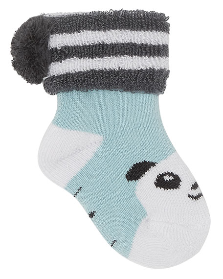 Baby Bootie Panda Socks, Light Blue
