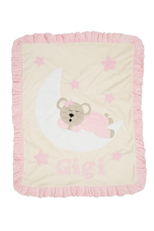 Boogie Baby Personalized Goodnight Teddy Plush Blanket, Pink
