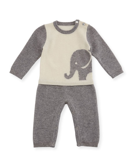 Two-Piece Elephant Pajama Set, Size 3-12 Months