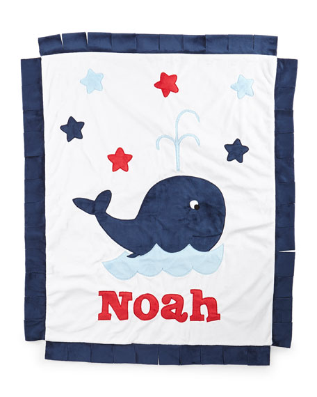 Whale Plush Blanket, White/Navy