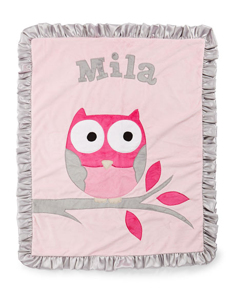 Personalized  It's a Hoot Plush Blanket, Pink