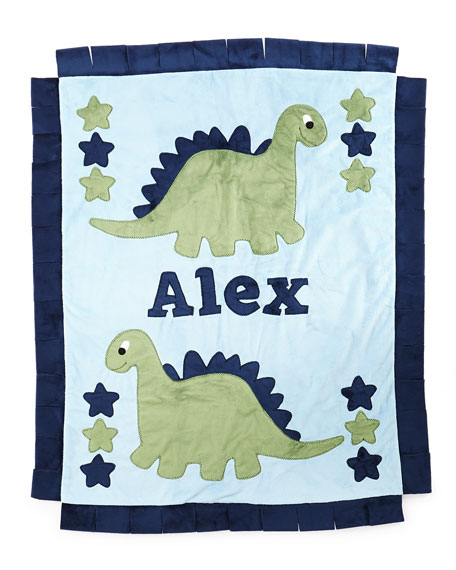 Personalized Dino the Dinosaur Plush Blanket, Blue/Green